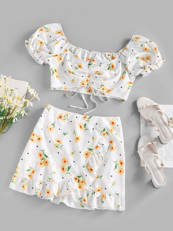 women's ZAFUL Flower Polka Dot Puff Sleeve Cinched Tulip Skirt Set - WHITE S