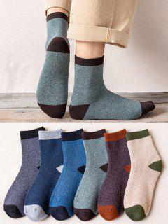 6 Pairs Colorblock Winter Socks Set - Multi