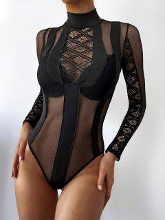 Sheer Mesh Lace Panel Mock Neck Teddy - Black S