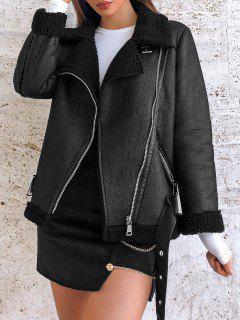 Manteau Zippé En Fausse Fourrure Avec Poches En Faux Cuir - Noir L
