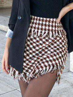 ZAFUL Frayed Plaid Tweed Mini Skirt - Deep Red M