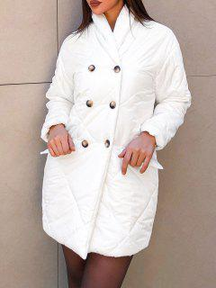 Flap Detail Double Breasted Puffer Coat - White L