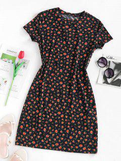 ZAFUL Flower Print Mini Bodycon Dress - Black L
