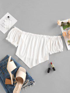 ZAFUL Ribbed Off Shoulder Frilled Ruched Top - White M