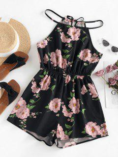 ZAFUL Flower Print Keyhole Back Loose Romper - Black S