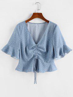 ZAFUL Polka Dot Cinched Flare Sleeve Peplum Blouse - Blue S
