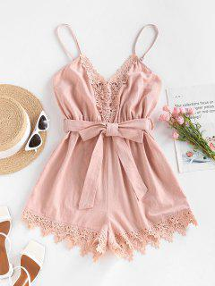 ZAFUL Belted Crochet Insert Cami Romper - Light Pink S