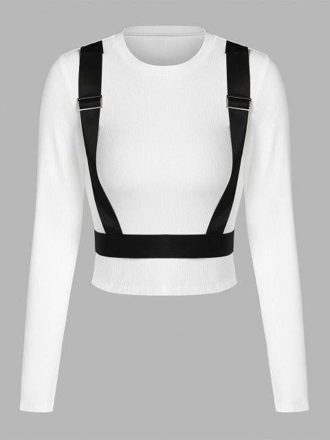 ZAFUL Kontrast Panel Schnallen Kurzes T-Shirt - Weiß M Mobile