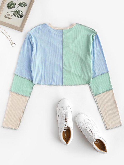T-shirt Court Côtelé Cousu en Blocs de Couleurs - Bleu clair L Mobile
