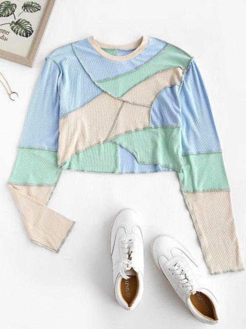 lady Colorblock Ribbed Topstitch Crop Tee - LIGHT BLUE L Mobile