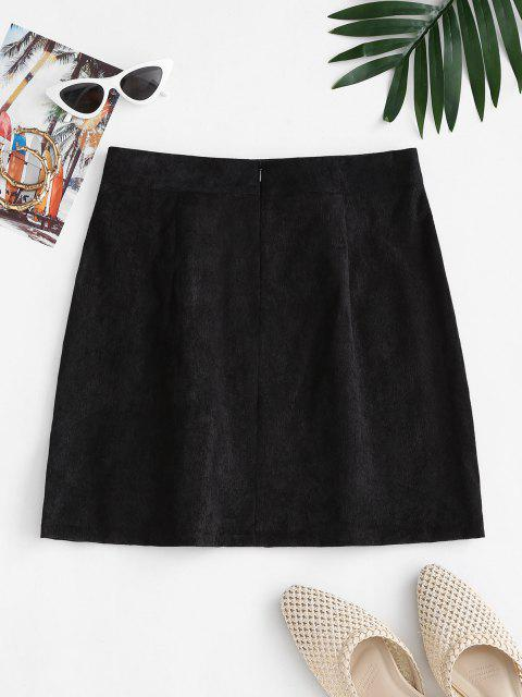 best Notched Zipper Front Corduroy Mini Skirt - BLACK M Mobile