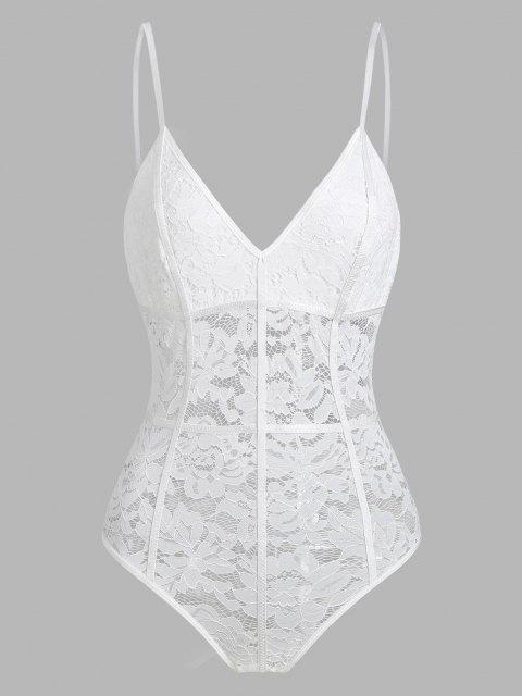trendy Snap Crotch Piping Lace Teddy - WHITE M Mobile