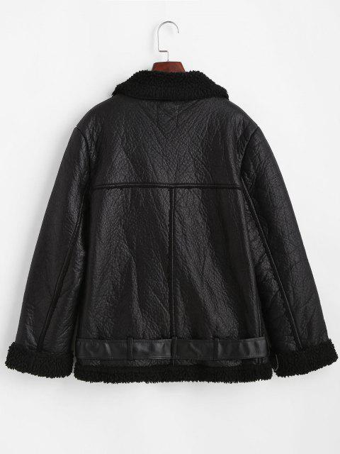 Abrigo Cuero PU Zipper y Bolsillos - Negro M Mobile