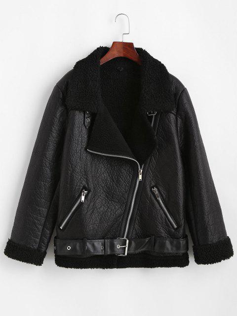 Manteau Zippé en Fausse Fourrure avec Poches en Faux Cuir - Noir XL Mobile