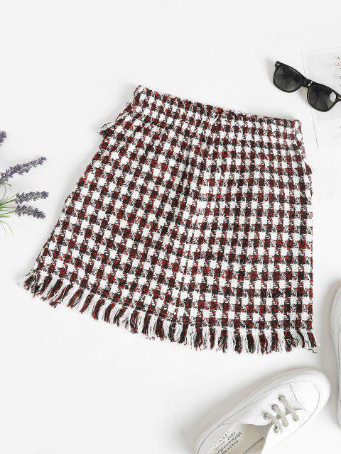 affordable ZAFUL Frayed Plaid Tweed Mini Skirt - DEEP RED S Mobile