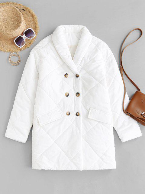 shops Flap Detail Double Breasted Puffer Coat - WHITE L Mobile