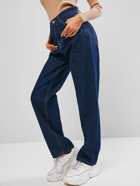 Jean Droit Simple à Taille Haute - Bleu profond S Mobile