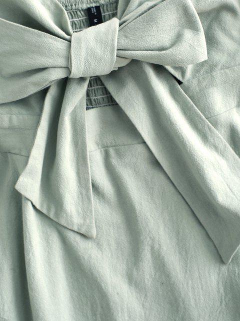 buy Off Shoulder Ruffle Smocked Tie Front Dress - LIGHT GREEN S Mobile