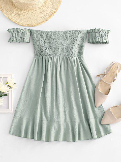 womens Off Shoulder Ruffle Smocked Tie Front Dress - LIGHT GREEN M Mobile