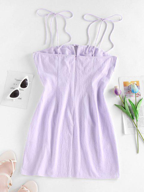 women's ZAFUL Tie Shoulder Ruched Bust Bodycon Dress - LIGHT PURPLE M Mobile