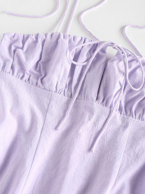 sale ZAFUL Tie Shoulder Ruched Bust Bodycon Dress - LIGHT PURPLE XL Mobile