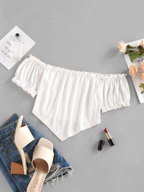 shop ZAFUL Ribbed Off Shoulder Frilled Ruched Top - WHITE M Mobile