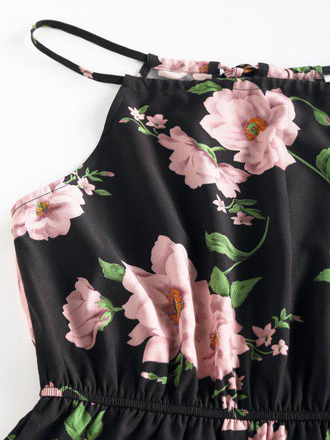 shop ZAFUL Flower Print Keyhole Back Loose Romper - BLACK M Mobile