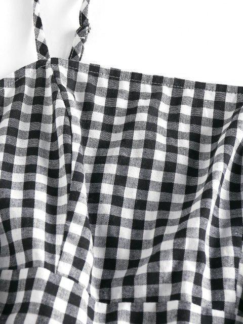 outfits ZAFUL Plaid Patch Pocket A Line Cami Dress - BLACK M Mobile