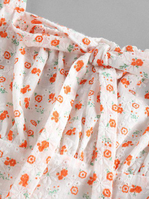 trendy ZAFUL Broderie Anglaise Flower Print Bowknot Dress - ORANGE M Mobile