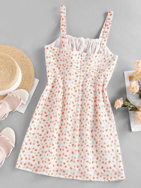 ZAFUL Broderie Anglaise Flower Print Bowknot Dress - البرتقالي S Mobile