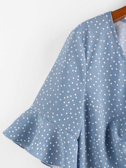 women's ZAFUL Polka Dot Cinched Flare Sleeve Peplum Blouse - BLUE S Mobile
