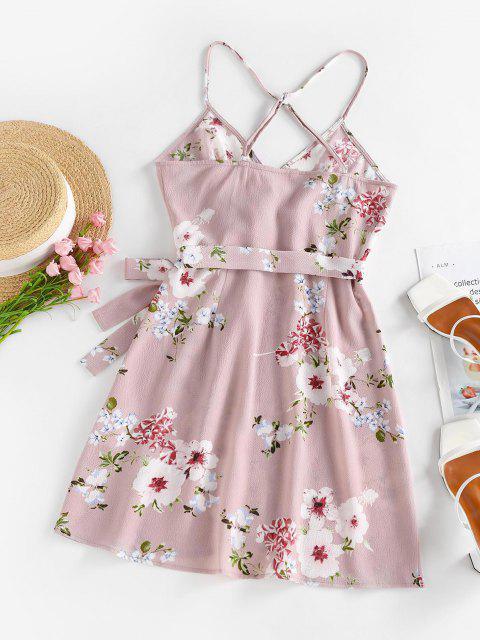 ZAFUL Flower Print Criss Cross Tulip Hem Dress - متعدد XL Mobile