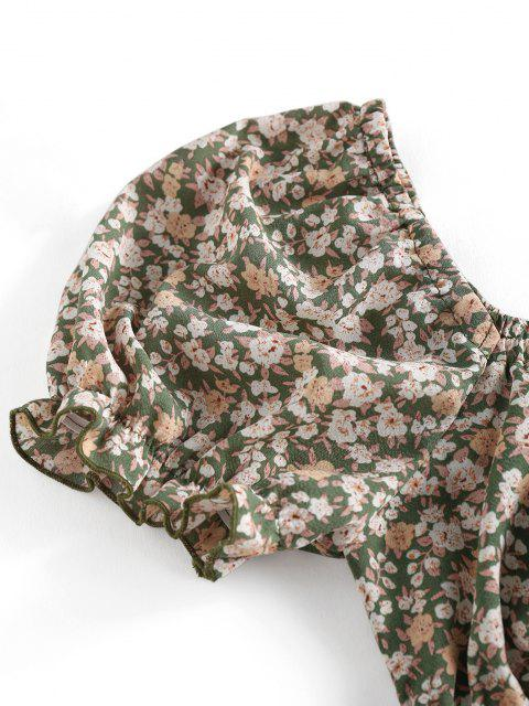 women's ZAFUL Ditsy Floral Puff Sleeve Crop Milkmaid Blouse - LIGHT GREEN M Mobile