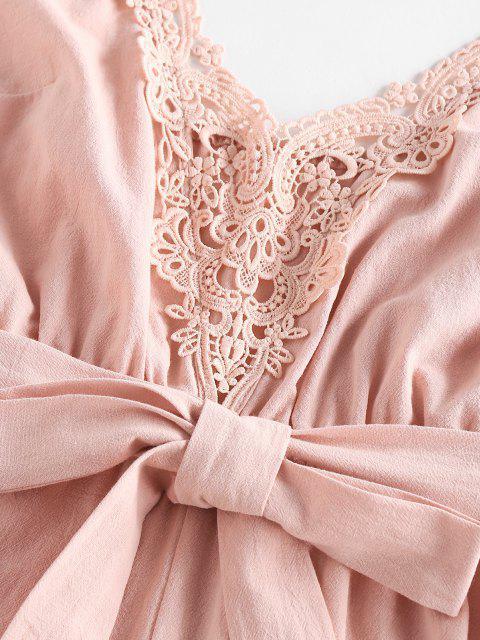 sale ZAFUL Belted Crochet Insert Cami Romper - LIGHT PINK S Mobile