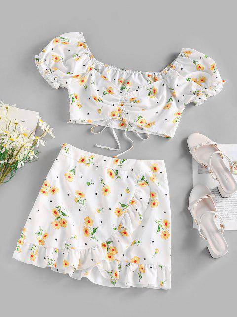 women's ZAFUL Flower Polka Dot Puff Sleeve Cinched Tulip Skirt Set - WHITE S Mobile