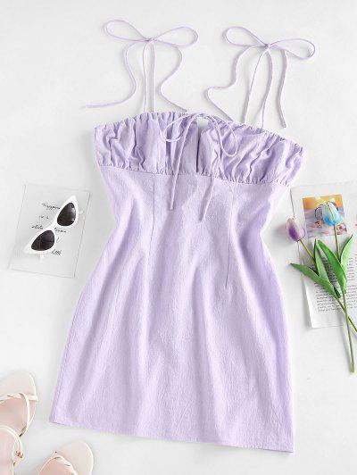 ZAFUL Tie Shoulder Ruched Bust Bodycon Dress - Light Purple S