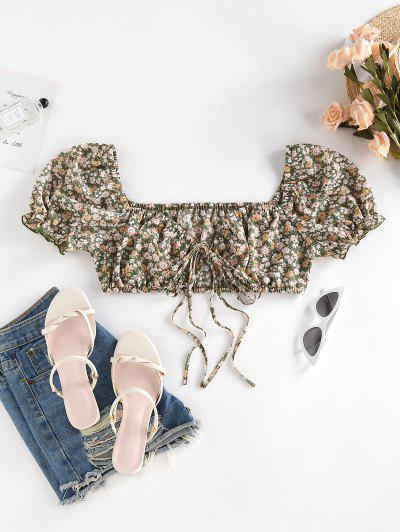 ZAFUL Ditsy Floral Puff Sleeve Crop Milkmaid Blouse - Light Green L