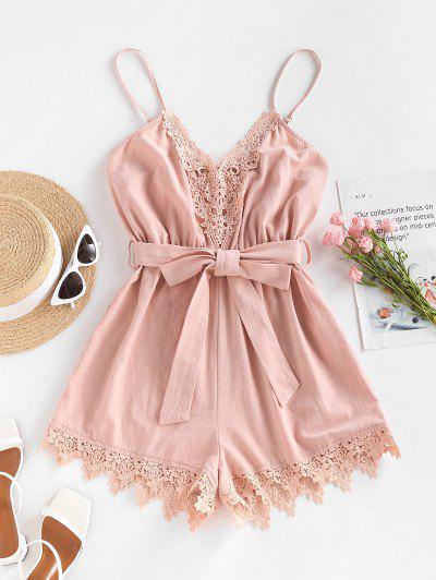 ZAFUL Belted Crochet Insert Cami Romper - Light Pink M