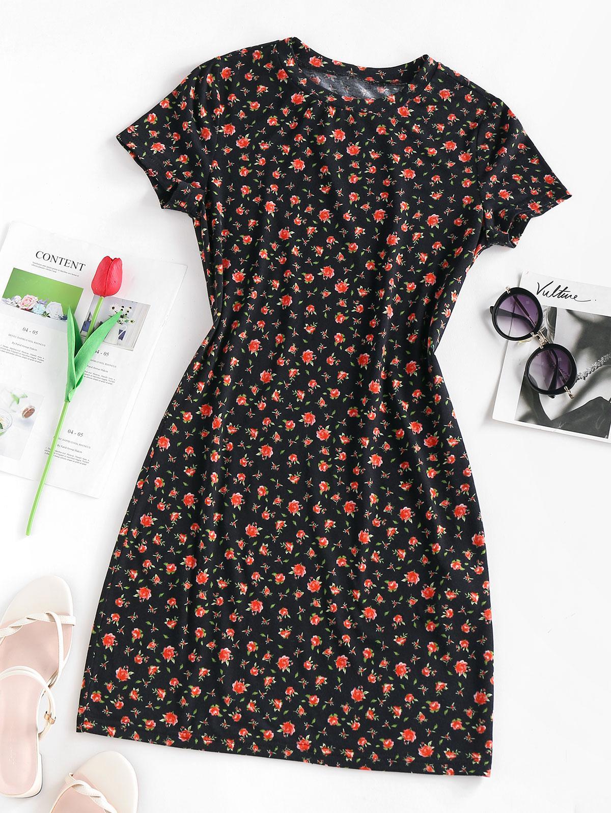Zaful Floral Print Bodycon Dress