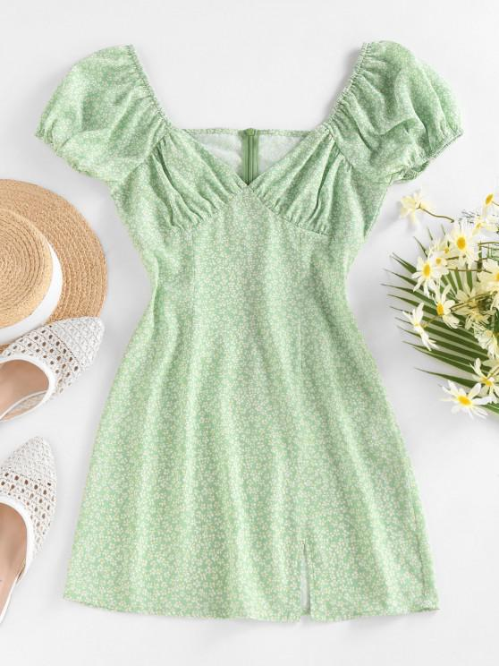 fancy ZAFUL Ditsy Print Puff Sleeve Slit Mini Dress - LIGHT GREEN M