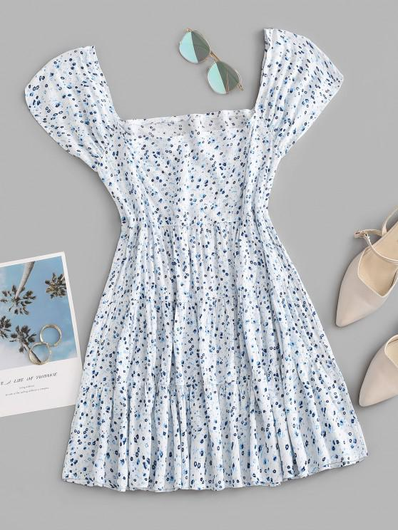 hot Ditsy Print Square Neck Tiered Dress - LIGHT BLUE S