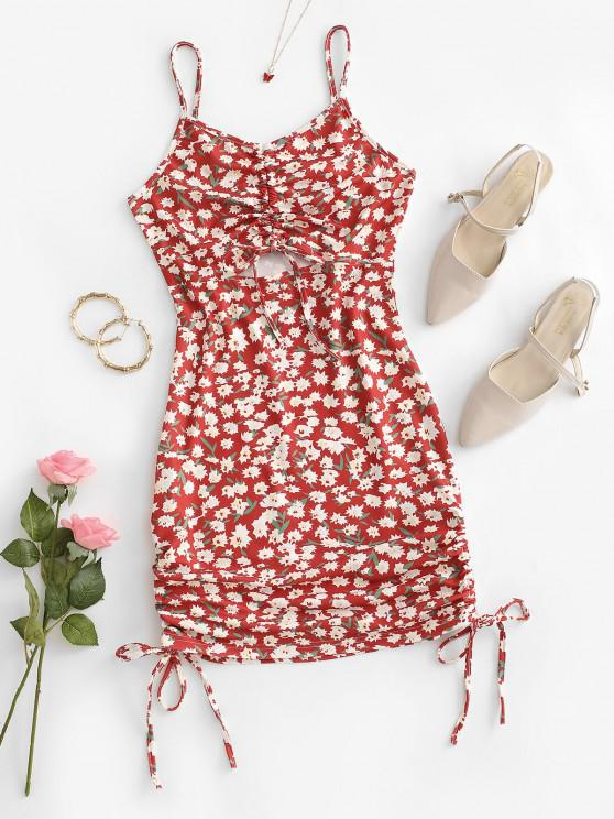 women Flower Print Cinched Cutout Bodycon Dress - RED S