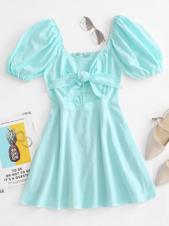 outfit Tied Puff Sleeve Cutout Mini Dress - LIGHT GREEN M