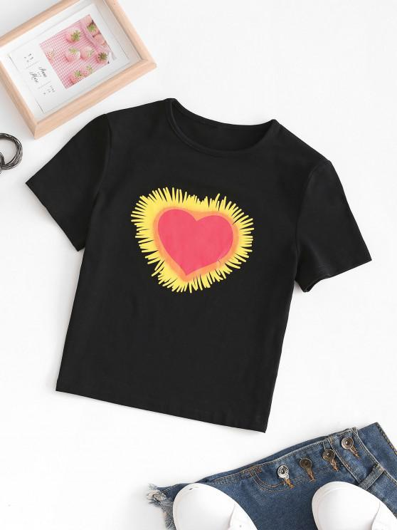 fashion Valentine Cropped Heart Graphic Tee - BLACK L