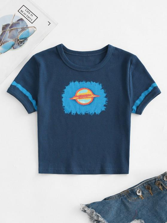 shops Ribbed Cropped Planet Graphic Tee - DEEP BLUE L