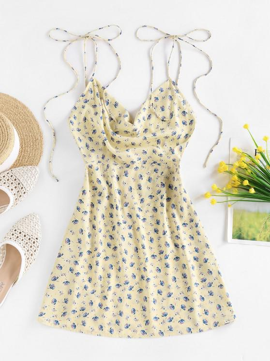fancy ZAFUL Ditsy Print Backless Cowl Front Dress - LIGHT YELLOW S