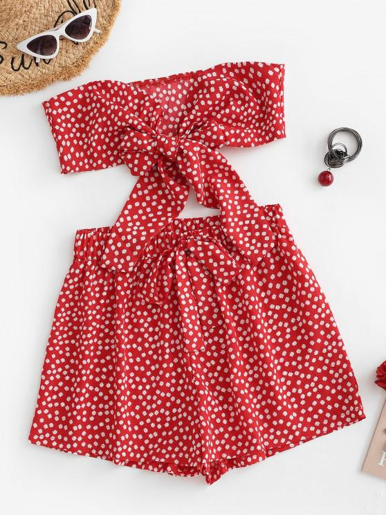 lady Floral Bowknot Bandeau Loose Shorts Set - RED M