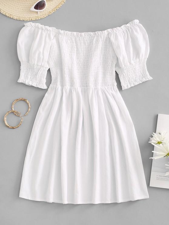 women's Smocked Ruffle Puff Sleeve Mini Dress - WHITE M