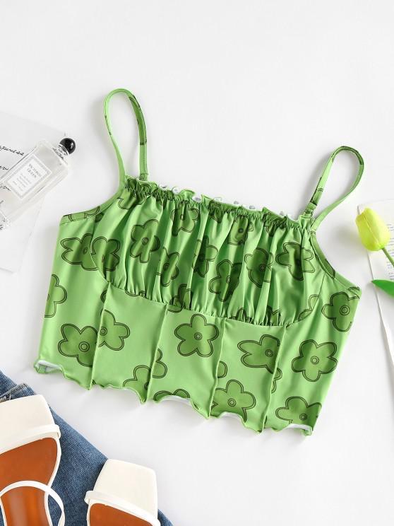 women ZAFUL Flower Print Ruched Bust Ruffle Corset Top - LIGHT GREEN M
