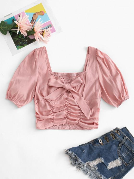 Bowknot Puff Sleeve Ruched Smocked Blouse - وردي فاتح M